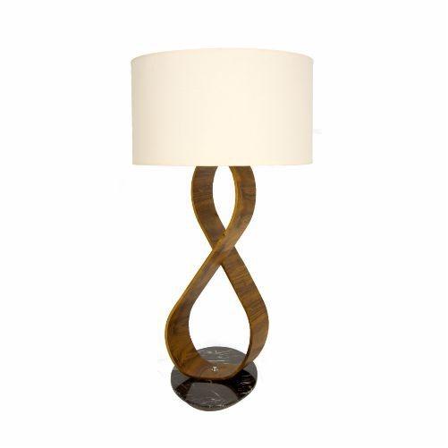 Abajur Accord Iluminação Infinito Curvas Moderno Madeira Natural 74x40cm 1x E27 110v 220v Bivolt 7012 Sala Estar Quartos