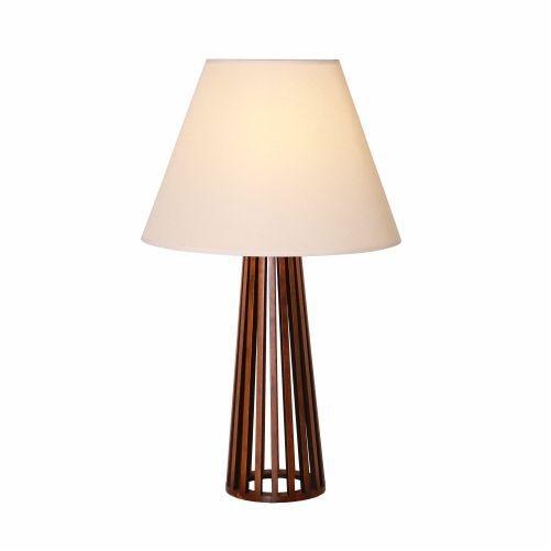 Abajur Accord Iluminação Ripas Cônico Linear Madeira Natural 66x40cm 1x E27 110v 220v Bivolt 7014 Sala Estar Entradas