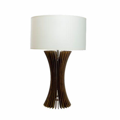 Abajur Accord Iluminação Stecche Di Legno Curvas Madeira Natural 64x40cm 1x E27 110v 220v Bivolt 7013 Sala Estar Quartos