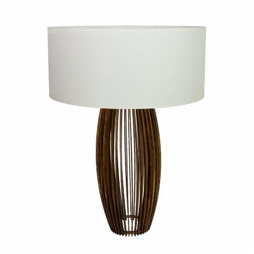 Abajur Accord Iluminação Stecche Di Legno Ripas Madeira Natural 60x40cm 1x E27 110v 220v Bivolt 7020 Quartos Sala Estar
