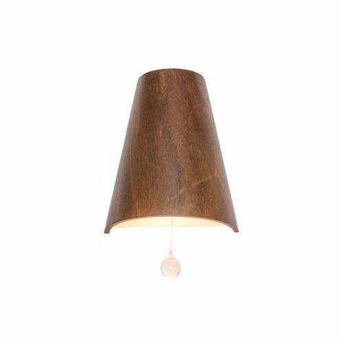 Arandela Accord Iluminação Liso Cônica Linear Cristal Madeira Natural 25x20cm 1x E27 4018C Sala Estar Hall