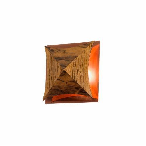 Arandela Accord Iluminação Pirâmide Curvas Facetado Madeira Natural 16x5,2cm 1x Placa LED 6W 4063CO Sala Estar Quartos
