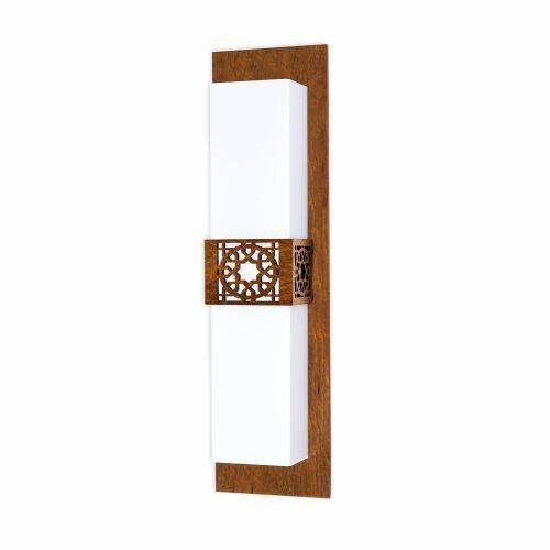 Arandela Accord Iluminação Star Acrílico Retangular Madeira Natural 55x15cm 2x E27 110v 220v Bivolt 4054 Sala Estar Hall