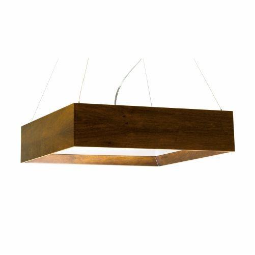 Pendente Accord Iluminação 1/2 Esquadro Madeira Natural Quadrado Acrílico 12x60cm 4x E27 266 Sala Estar Hall