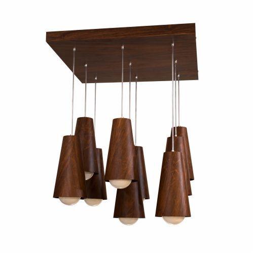 Pendente Accord Iluminação 9 Cones Conjunto Cilindro Madeira Natural 70x86cm 9x E27 110v 220v Bivolt 1235 Sala Estar Entradas