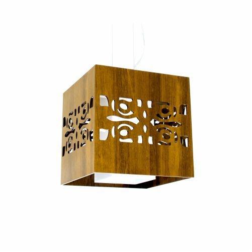 Pendente Accord Iluminação Arabesco Estilizado Cubo Madeira Natural 30x30cm 1x E27 110v 220v Bivolt 106 Quartos Sala Estar