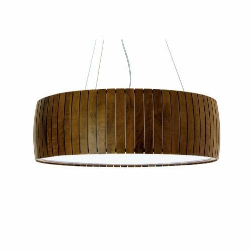 Pendente Accord Iluminação Barril Ripas Cilindro Madeira Natural 19x60cm 3x E27 110v 220v Bivolt 1111 Sala Estar Entradas