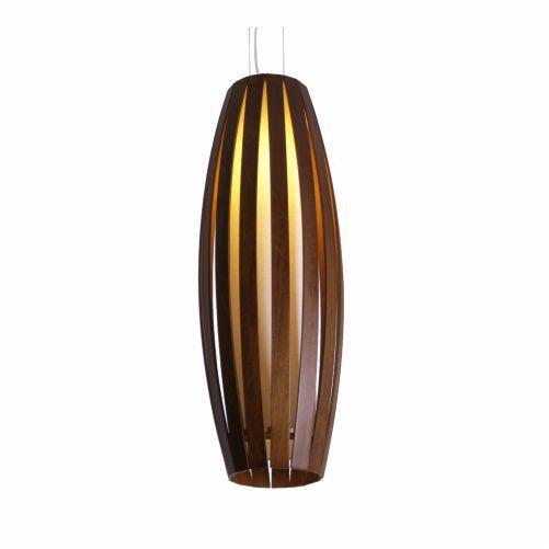 Pendente Accord Iluminação Barril Ripas Suspenso Madeira Natural Acrílico 100x17cm 1x E27 305 Quartos Sala Estar