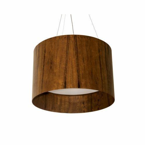 Pendente Accord Iluminação Borda Alta Cilindro Madeira Natural 39x50cm 3x E27 110v 220v Bivolt 1202 Sala Estar Quartos