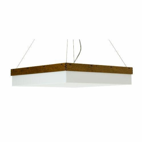 Pendente Accord Iluminação Cachepô Clean Quadrado Madeira Natural 12x60cm Acordd Iluminação 4x E27 110v 220v Bivolt 282 Sala Estar Hall