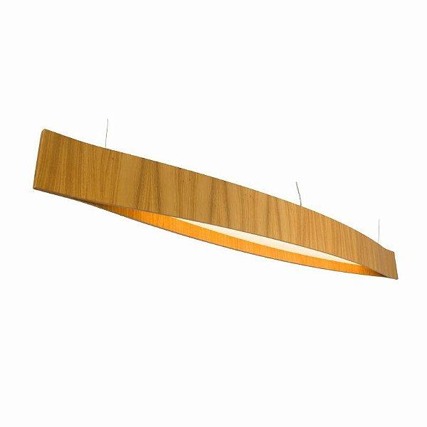 Pendente Accord Iluminação Canoa Clean Horizontal Madeira Natural 16x120cm 2,5m Fita LED 6W 1279 Mesa Jantar Balcões