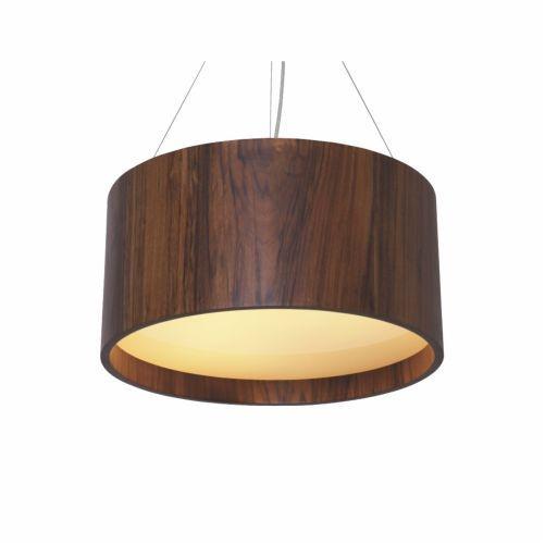Pendente Accord Iluminação Cilindro Redondo Madeira Natural Vidro 25x40cm 2x E27 110v 220v Bivolt 214 Sala Estar Cozinhas