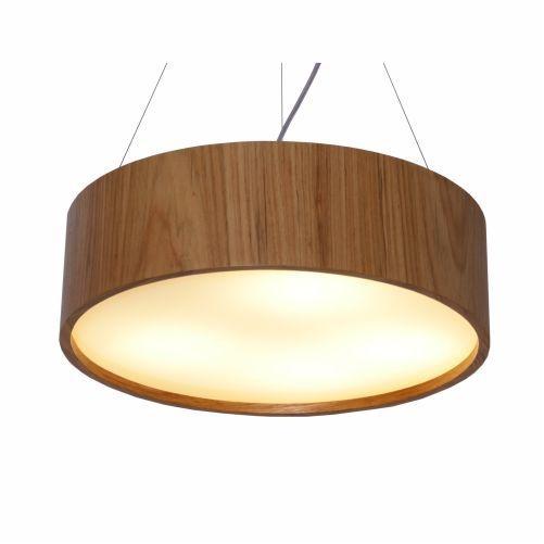 Pendente Accord Iluminação Cilindro Redondo Vidro Madeira Natural 15x50cm 3x E27 110v 220v Bivolt 231 Hall Sala Estar