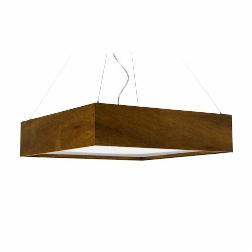 Pendente Accord Iluminação Clean Horizontal Quadrado Madeira Natural 12x40cm 3x E27 110v 220v Bivolt 1026 Sala Estar Entradas