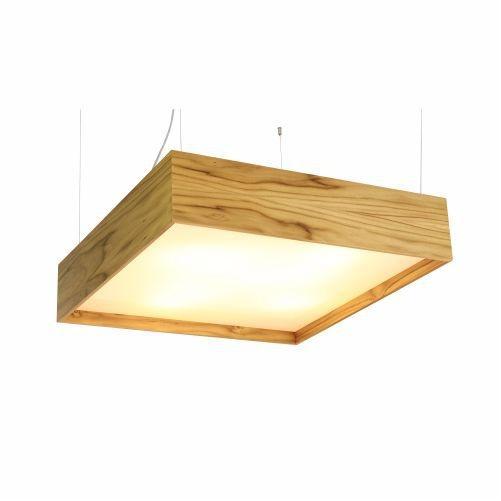 Pendente Accord Iluminação Clean Quadrado Madeira Natural Acrílico 20x70cm 6x E27 110v 220v Bivolt 114 Quartos Sala Estar