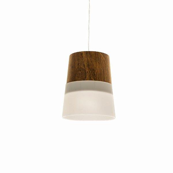 Pendente Accord Iluminação Cone Acrílico Cônico Madeira Natural 19x16cm 1x E27 110v 220v Bivolt 1151 Mesa Jantar Balcões