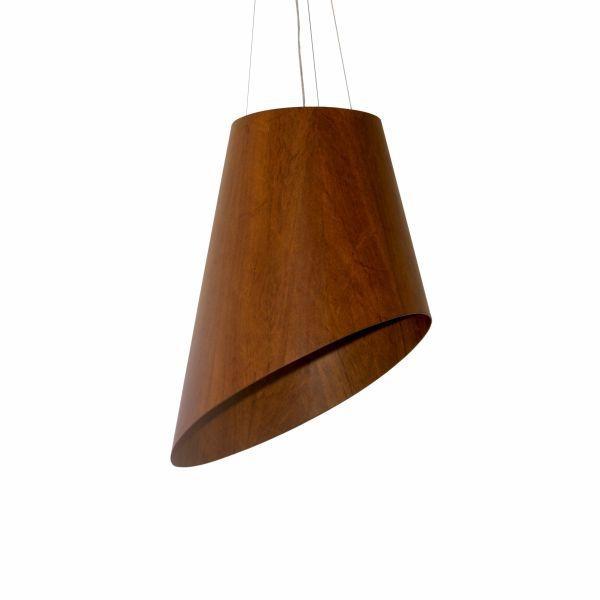 Pendente Accord Iluminação Cone Cortado Cônico Suspenso Madeira Natural 70x60cm 4x E27 110v 220v Bivolt 1194 Mesa Jantar Sala Estar