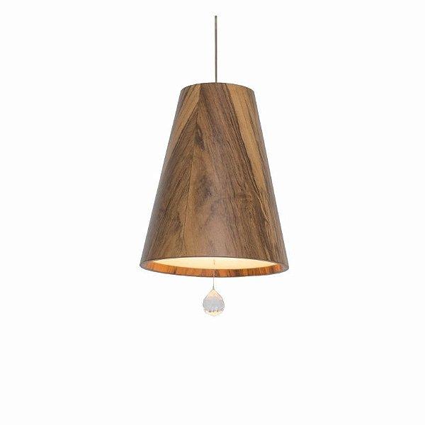 Pendente Accord Iluminação Cone Tubo Cristal Suspenso Madeira Natural 25x20cm 1x E27 110v 220v Bivolt 1130C Sala Estar Cozinhas
