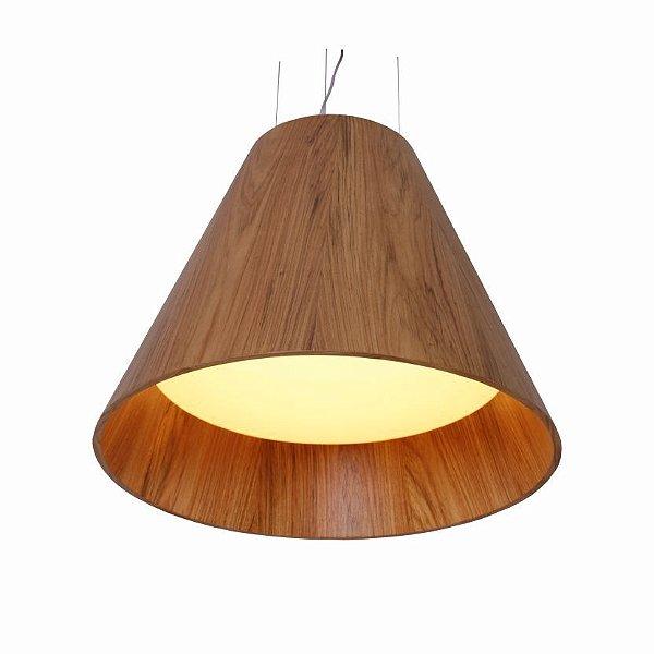 Pendente Accord Iluminação Cônico Acrílico Suspenso Madeira Natural 70x80cm 4x E27 110v 220v Bivolt 295 Sala Estar Hall