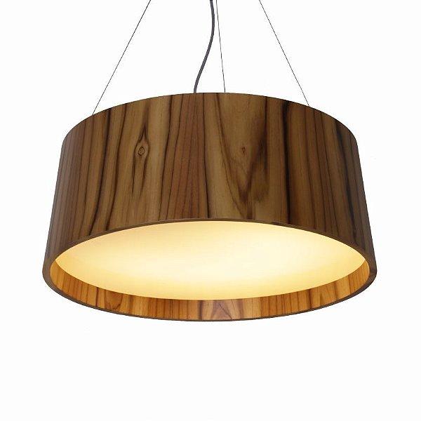 Pendente Accord Iluminação Cônico Redondo Acrílico Madeira Natural 25x62cm 3x E27 110v 220v Bivolt 296 Sala Estar Mesa Jantar