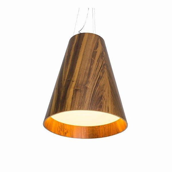 Pendente Accord Iluminação Cônico Tubo Suspenso Madeira Natural 61x50cm 3x E27 110v 220v Bivolt 1146 Balcões Mesa Jantar