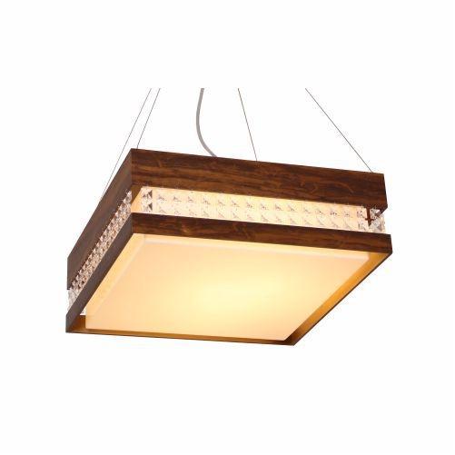 Pendente Accord Iluminação Cristais Quadrado Acrílico Madeira Natural 15x35cm 2x E27 110v 220v Bivolt 1123 Sala Estar Quartos