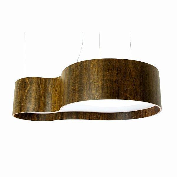 Pendente Accord Iluminação KS II Organico Curvas Madeira Natural 20x85cm 5x E27 110v 220v Bivolt 285 Sala Estar Cozinhas