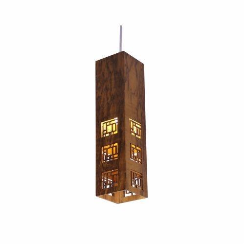 Pendente Accord Iluminação Labirinto Cubo Retangular Madeira Natural 40x10cm 1x E27 110v 220v Bivolt 1022 Sala Estar Hall