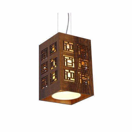 Pendente Accord Iluminação Labirinto Cubo Suspenso Madeira Natural 30x20cm 1x E27 110v 220v Bivolt 1020 Sala Estar Hall