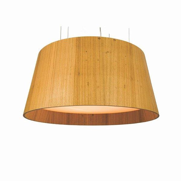 Pendente Accord Iluminação Liso Cônico Redondo Madeira Natural 35x75cm 4x E27 110v 220v Bivolt 255 Sala Estar Quartos