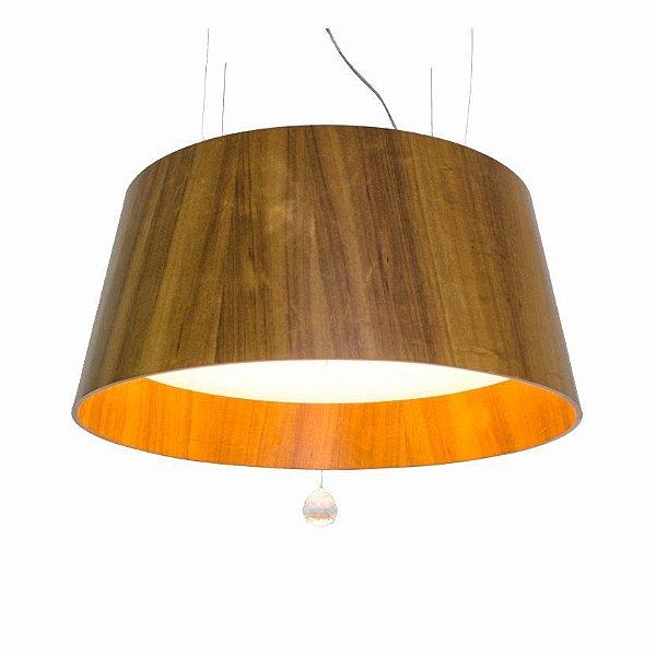 Pendente Accord Iluminação Liso Cristal Cônico Redondo Madeira Natural 35x75cm 4x E27 110v 220v Bivolt 255C Sala Estar Quartos