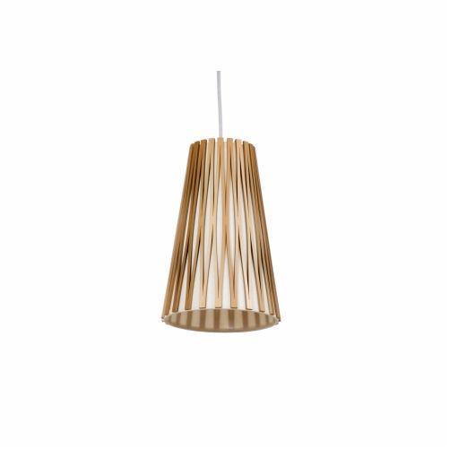 Pendente Accord Iluminação Living Hinges Tubo Cônico Madeira Natural 25x14,5cm 1x E27 1239 Mesa Jantar Balcões