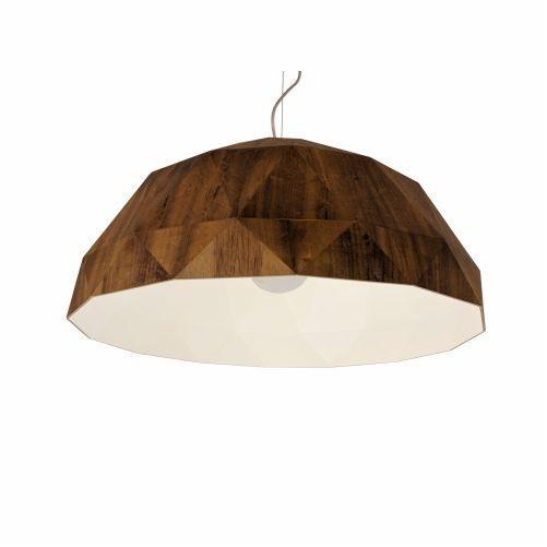 Pendente Accord Iluminação Meia Bola Multifacetado Madeira Natural 23x50cm 1x E27 110v 220v Bivolt 1291 Sala Estar Mesa Jantar