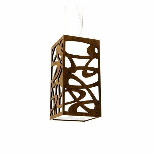 Pendente Accord Iluminação Olimpico Cubo Suspenso Madeira Natural 30x20cm 1x E27 110v 220v Bivolt 1013 Sala Estar Hall