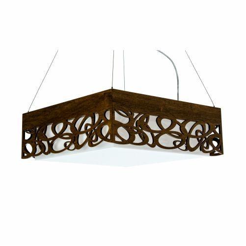 Pendente Accord Iluminação Olimpico Quadrado Madeira Natural 15x35cm 2x E27 110v 220v Bivolt 1128 Sala Estar Quartos
