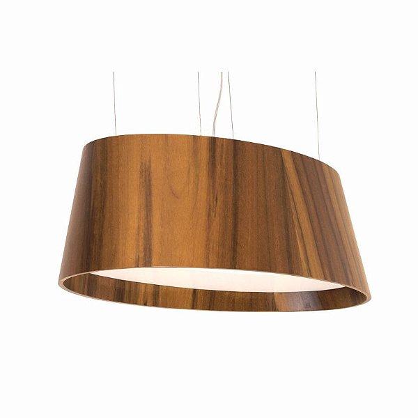 Pendente Accord Iluminação Oval Cônico Horizontal Madeira Natural 25x80cm 4x E27 110v 220v Bivolt 1218 Sala Estar Mesa Jantar