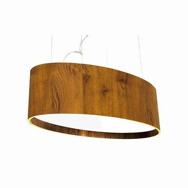 Pendente Accord Iluminação Oval Horizontal Acrílico Madeira Natural 25x82cm 6x E27 110v 220v Bivolt 287 Sala Estar Hall
