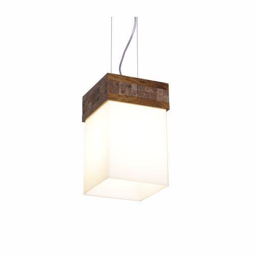 Pendente Accord Iluminação Pastilhado Cachepô Vidro Madeira Natural 30x15cm 1x E27 110v 220v Bivolt 286 Mesa Jantar Escritórios