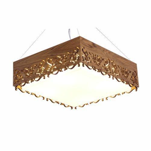 Pendente Accord Iluminação Renda Quadrado Madeira Natural Acrílico 15x45cm 3x E27 110v 220v Bivolt 1003 Sala Estar Quartos