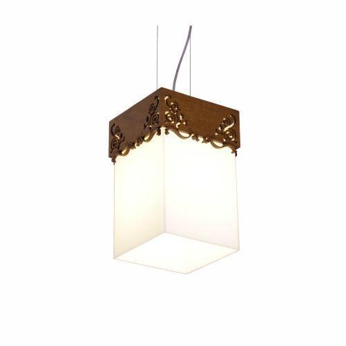 Pendente Accord Iluminação Renda Vidro Suspenso Madeira Natural 30x20cm 1x E27 110v 220v Bivolt 1016 Sala Estar Quartos