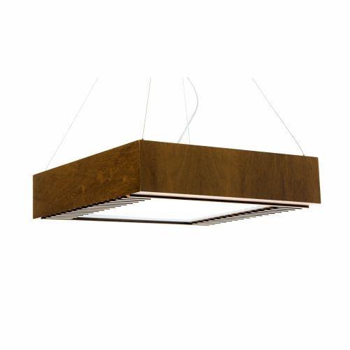 Pendente Accord Iluminação Ripas Aberto Quadrado Madeira Natural 12x50cm 4x E27 110v 220v Bivolt 518 Sala Estar Cozinhas