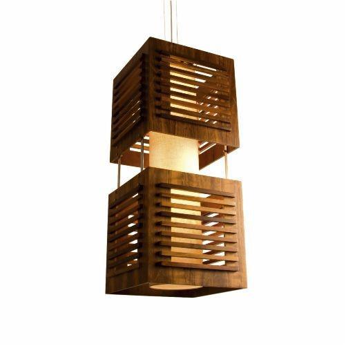 Pendente Accord Iluminação Ripas Cubo Suspenso Madeira Natural 70x30cm 2x E27 110v 220v Bivolt 110 Sala Estar Cozinhas