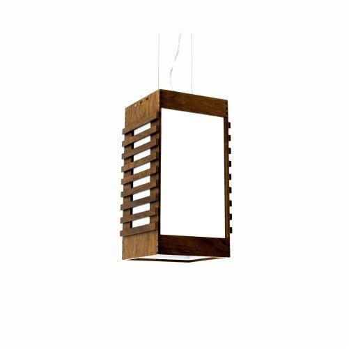 Pendente Accord Iluminação Ripas Suspenso Aberto Madeira Natural 30x15cm 1x E27 110v 220v Bivolt 802 Sala Estar Cozinhas