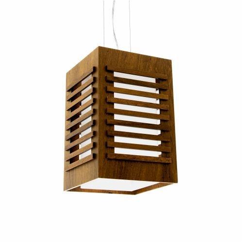 Pendente Accord Iluminação Ripas Suspenso Retangular Madeira Natural 30x19cm 1x E27 110v 220v Bivolt 801 Sala Estar Cozinhas