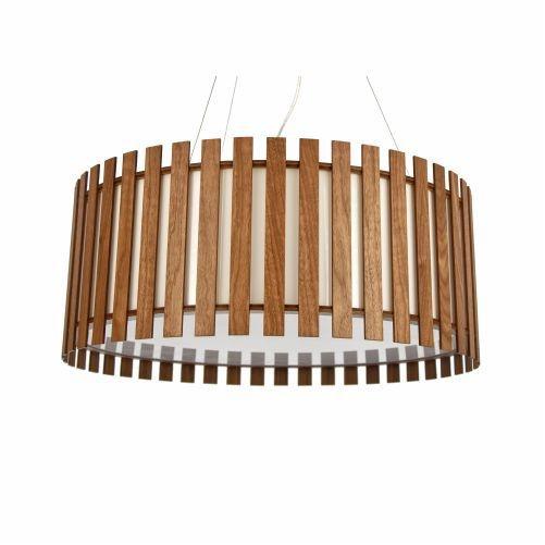Pendente Accord Iluminação Ripas Cilindro Redondo Madeira Natural 25x90cm 7x E27 110v 220v Bivolt 1096 Sala Estar Quartos