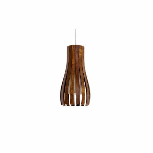 Pendente Accord Iluminação Ripas Suspenso Curvas Madeira Natural 35x20cm 1x E27 110v 220v Bivolt 1153 Mesa Jantar Balcões