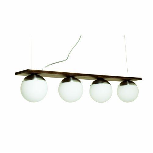 Pendente Accord Iluminação Sfera Classico Tetra Vidro Madeira Natural 13x90cm 4x E27 110v 220v Bivolt 623 Sala Estar Mesa Jantar