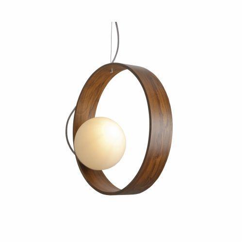 Pendente Accord Iluminação Sfera Disco Suspenso Vidro Madeira Natural 35x15cm 1x E27 110v 220v Bivolt 620 Sala Estar Entradas