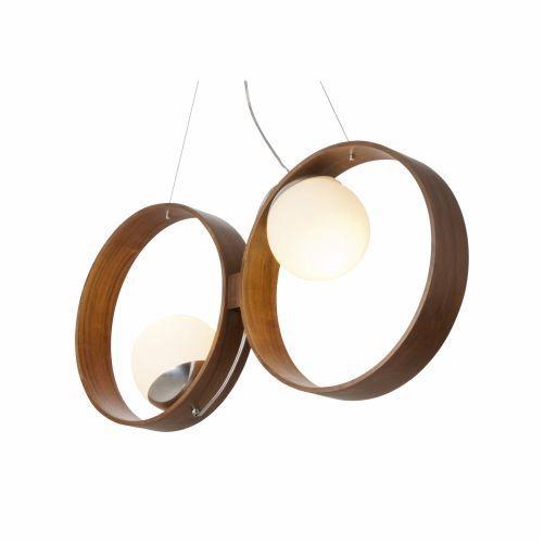 Pendente Accord Iluminação Sfera Duplo Disco Vidro Madeira Natural 35x73cm 2x E27 110v 220v Bivolt 621 Sala Estar Hall