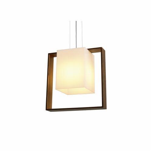 Pendente Accord Iluminação Simples Acrílico Quadrado Madeira Natural 35x35cm 1x E27 110v 220v Bivolt 822 Sala Estar Hall
